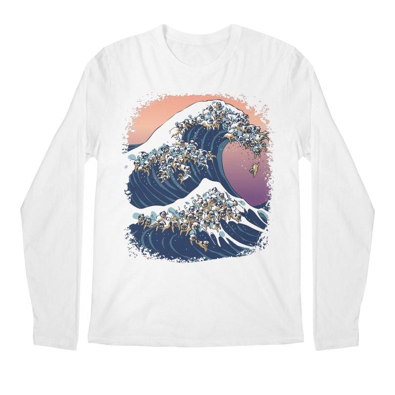 The Great Wave of Pugs Men's Longsleeve T-Shirt by huebucket's Artist Shop