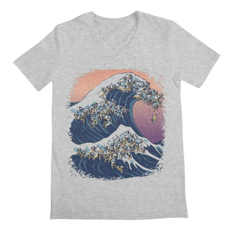 The Great Wave of Pugs Men's V-Neck by huebucket's Artist Shop