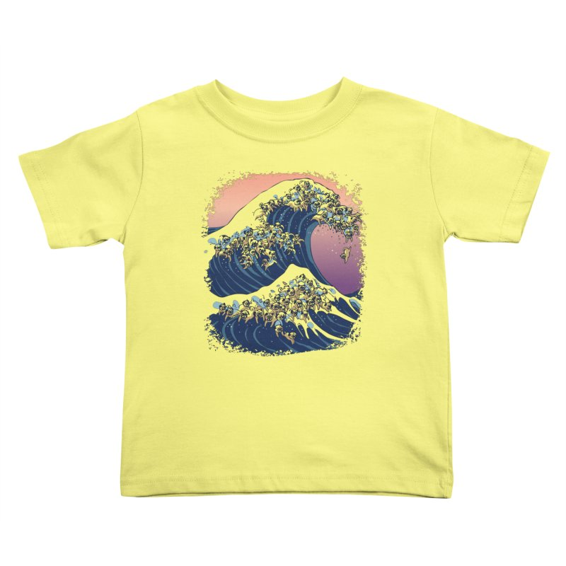 The Great Wave of Pugs Kids Toddler T-Shirt by huebucket's Artist Shop
