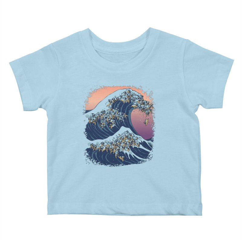 The Great Wave of Pugs Kids Baby T-Shirt by huebucket's Artist Shop