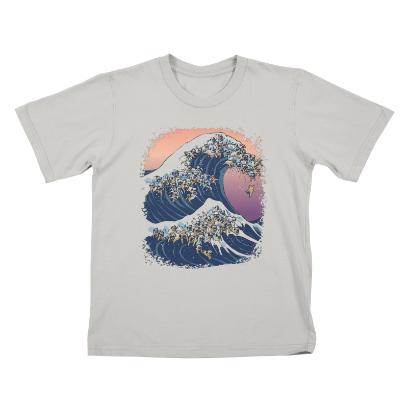 The Great Wave of Pugs Kids T-Shirt by huebucket's Artist Shop
