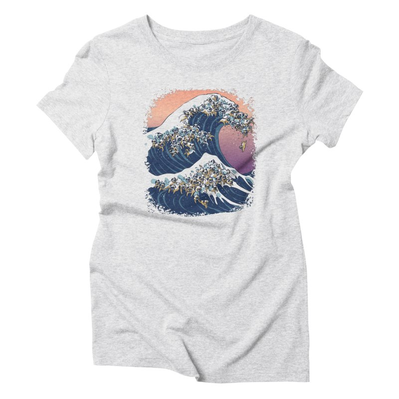 The Great Wave of Pugs Women's Triblend T-Shirt by huebucket's Artist Shop