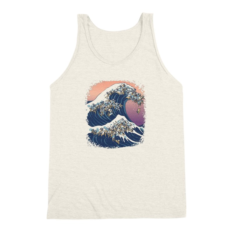 The Great Wave of Pugs Men's Triblend Tank by huebucket's Artist Shop