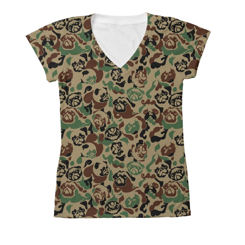 Pug Camouflage Women's V-Neck All Over Print by huebucket's Artist Shop
