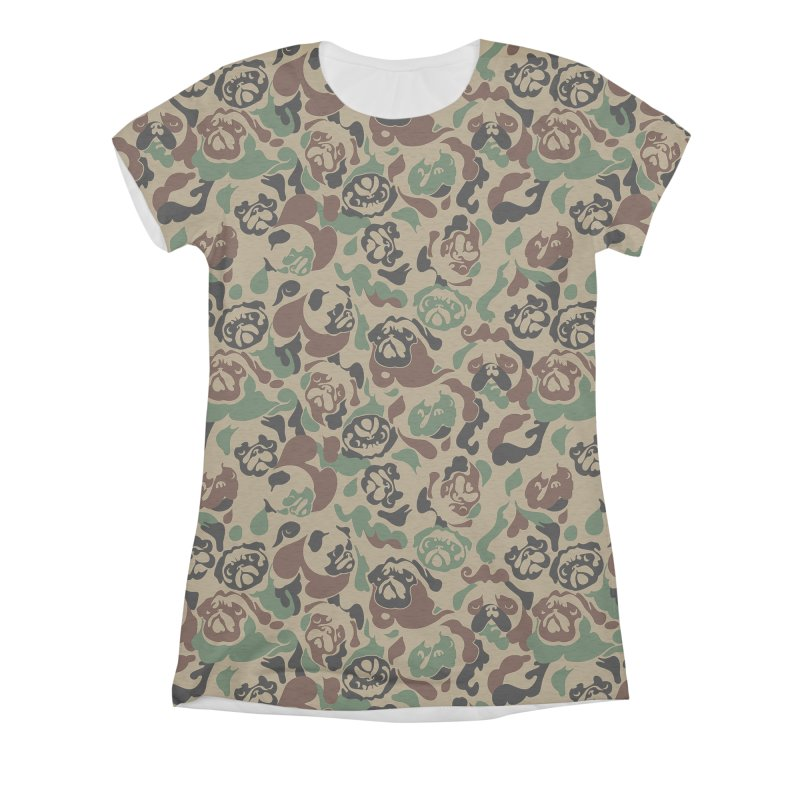 Pug Camouflage Women's Triblend All Over Print by huebucket's Artist Shop