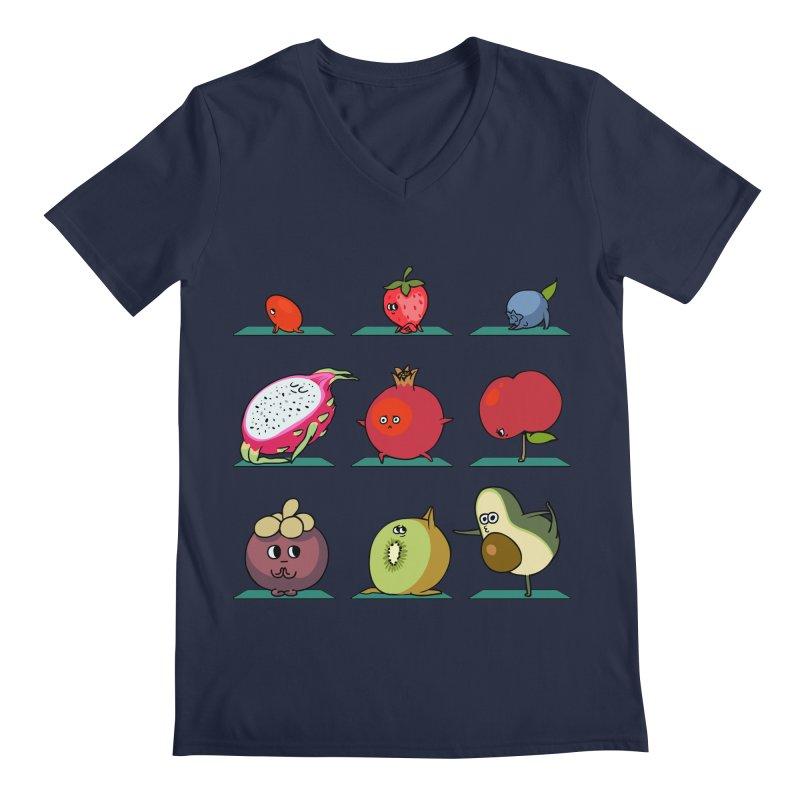 Super Fruits Yoga Men's V-Neck by huebucket's Artist Shop