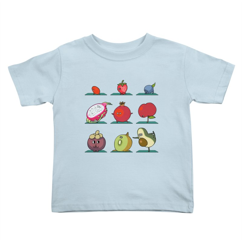 Super Fruits Yoga Kids Toddler T-Shirt by huebucket's Artist Shop