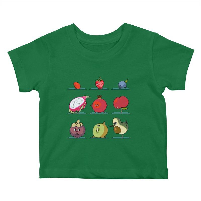Super Fruits Yoga Kids Baby T-Shirt by huebucket's Artist Shop