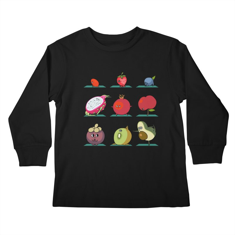 Super Fruits Yoga Kids Longsleeve T-Shirt by huebucket's Artist Shop