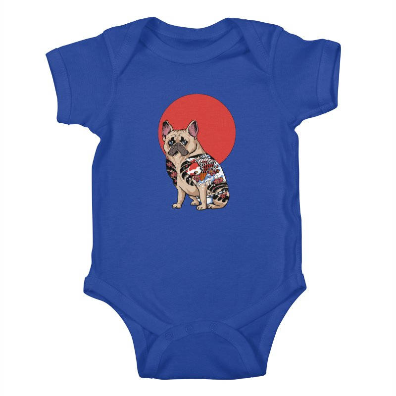 French Bulldog Yakuza Kids Baby Bodysuit by huebucket's Artist Shop