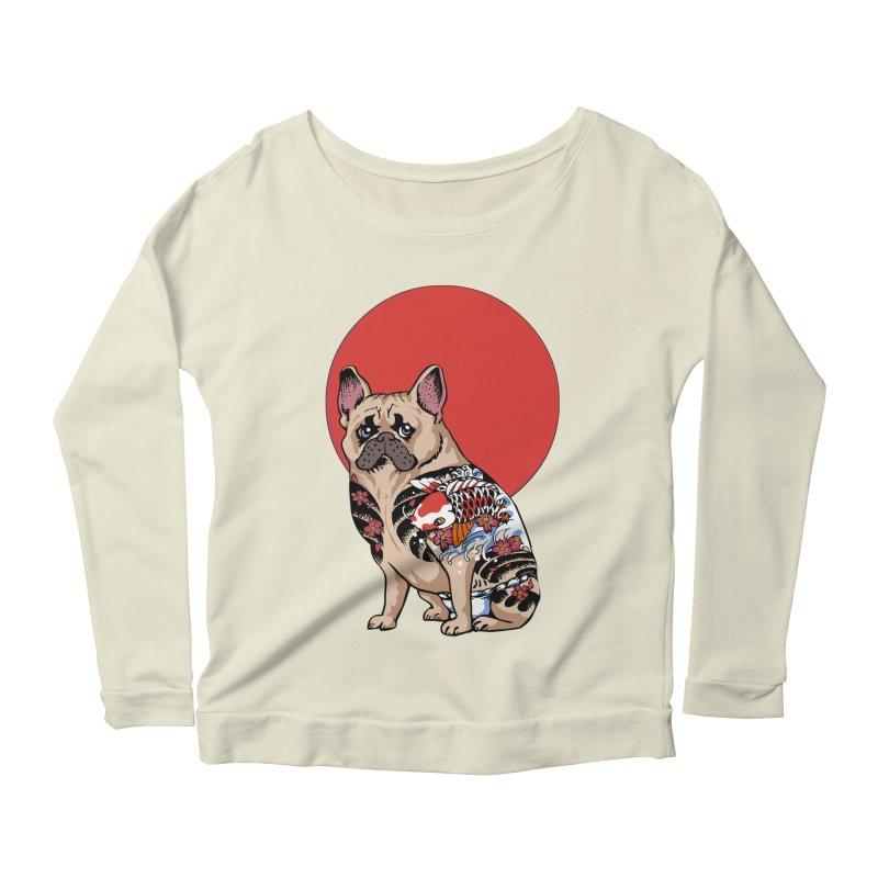 French Bulldog Yakuza Women's Longsleeve Scoopneck  by huebucket's Artist Shop