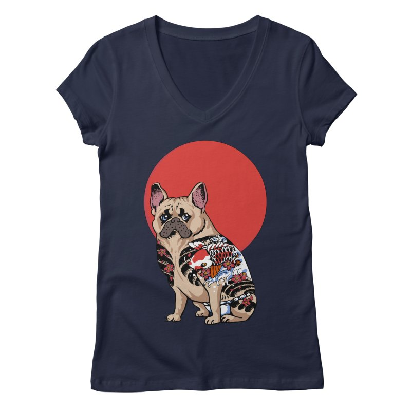 French Bulldog Yakuza Women's V-Neck by huebucket's Artist Shop
