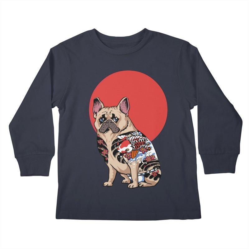 French Bulldog Yakuza Kids Longsleeve T-Shirt by huebucket's Artist Shop