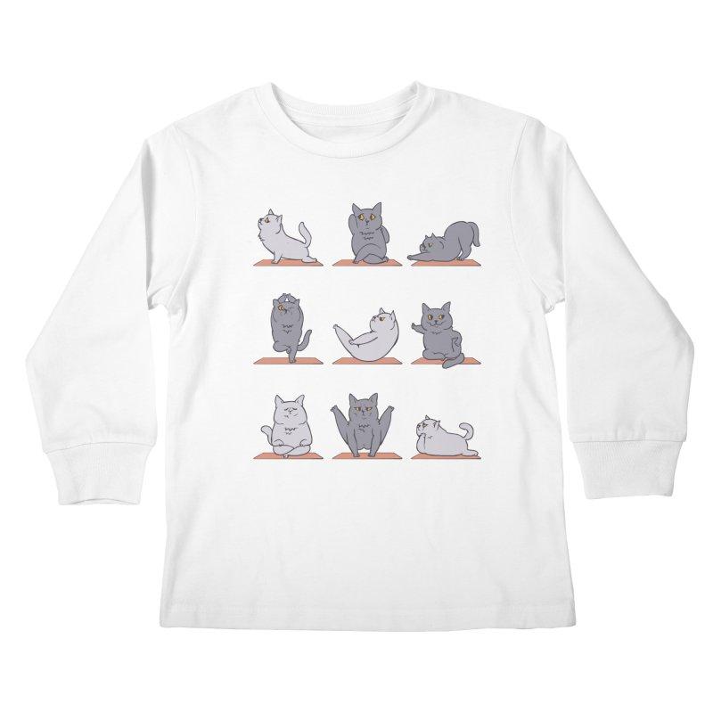 British Shorthair Cat Yoga Kids Longsleeve T-Shirt by huebucket's Artist Shop