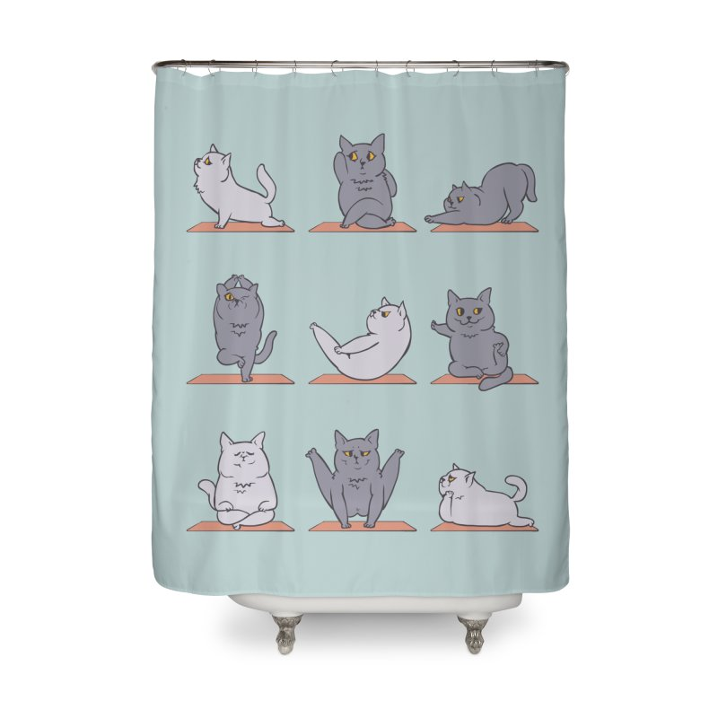 British Shorthair Cat Yoga Home Shower Curtain by huebucket's Artist Shop