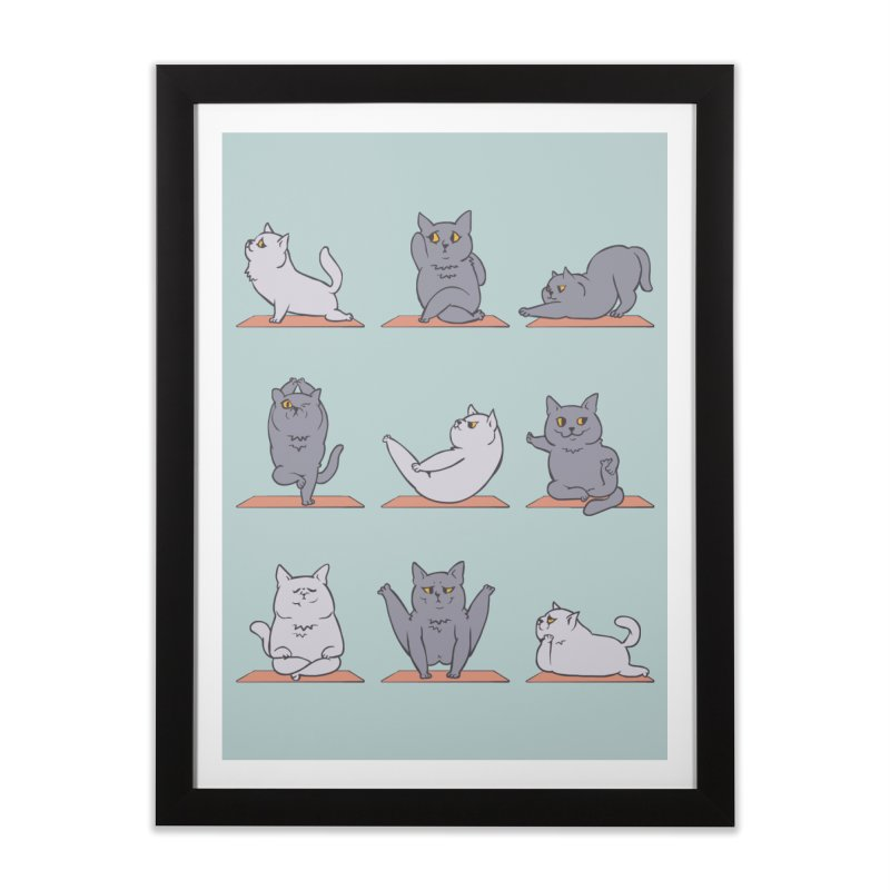 British Shorthair Cat Yoga Home Framed Fine Art Print by huebucket's Artist Shop
