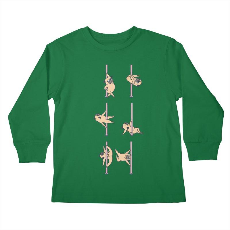 Pugs Pole Dancing Club Kids Longsleeve T-Shirt by huebucket's Artist Shop