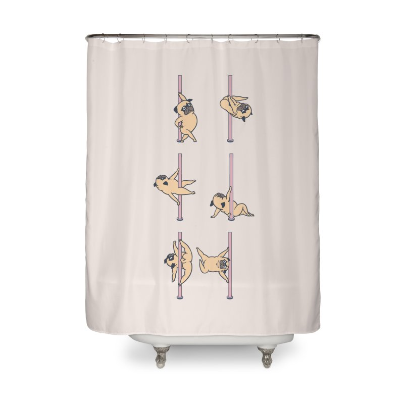 Pugs Pole Dancing Club Home Shower Curtain by huebucket's Artist Shop