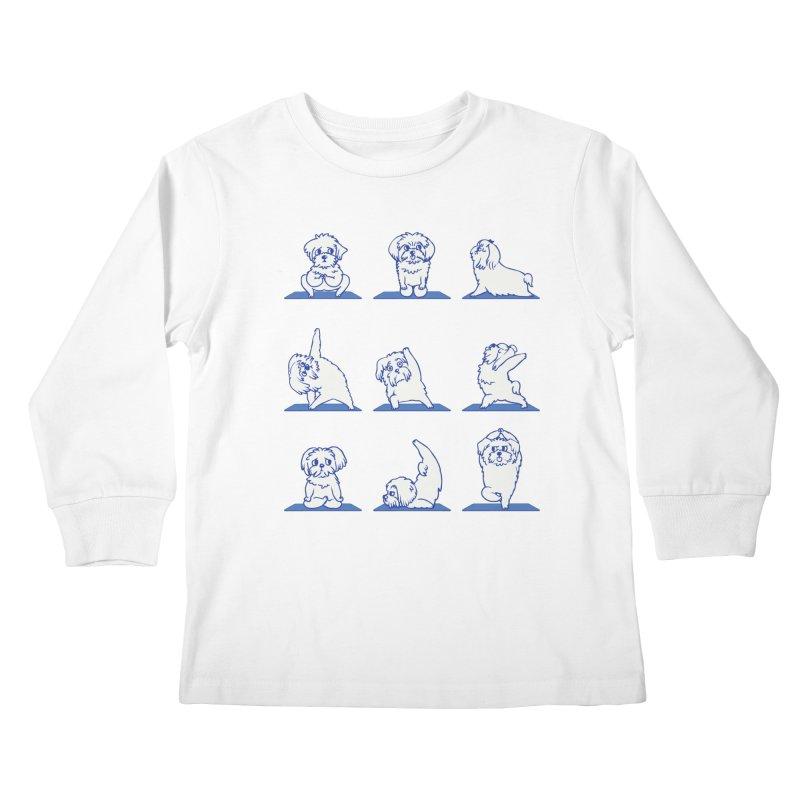 Maltese Yoga Kids Longsleeve T-Shirt by huebucket's Artist Shop