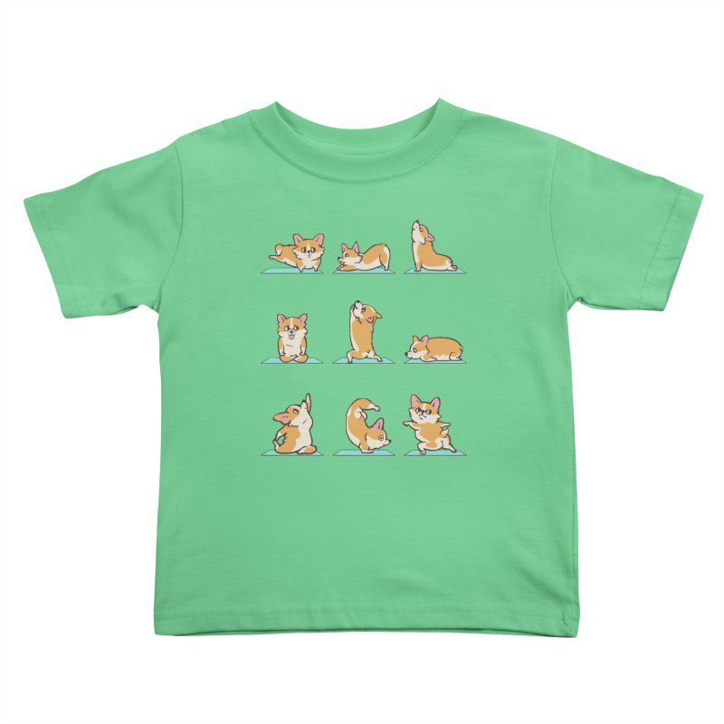 Corgi Yoga Kids Toddler T-Shirt by huebucket's Artist Shop