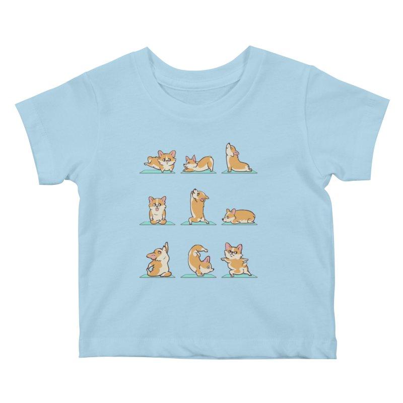 Corgi Yoga Kids Baby T-Shirt by huebucket's Artist Shop