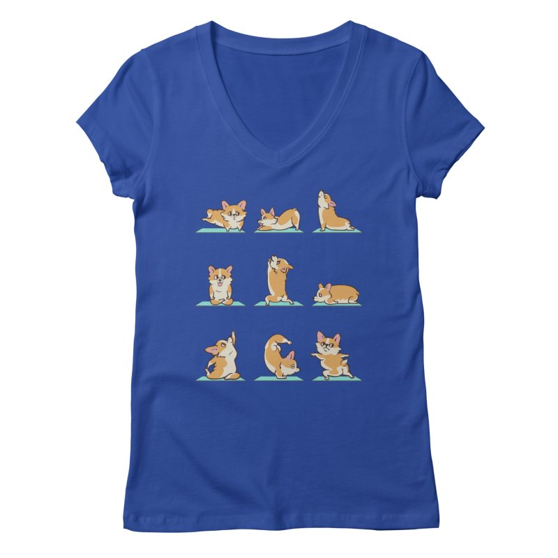Corgi Yoga Women's V-Neck by huebucket's Artist Shop