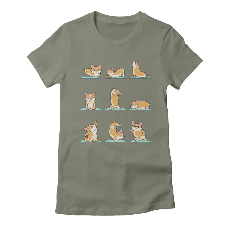 Corgi Yoga Women's Fitted T-Shirt by huebucket's Artist Shop