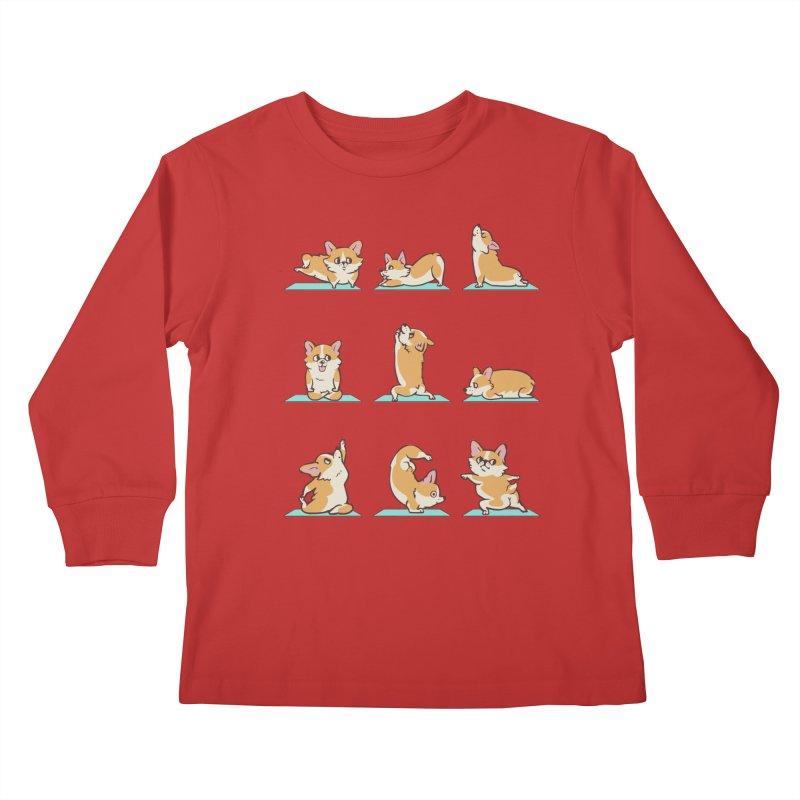 Corgi Yoga Kids Longsleeve T-Shirt by huebucket's Artist Shop