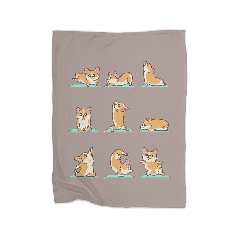 Corgi Yoga Home Blanket by huebucket's Artist Shop