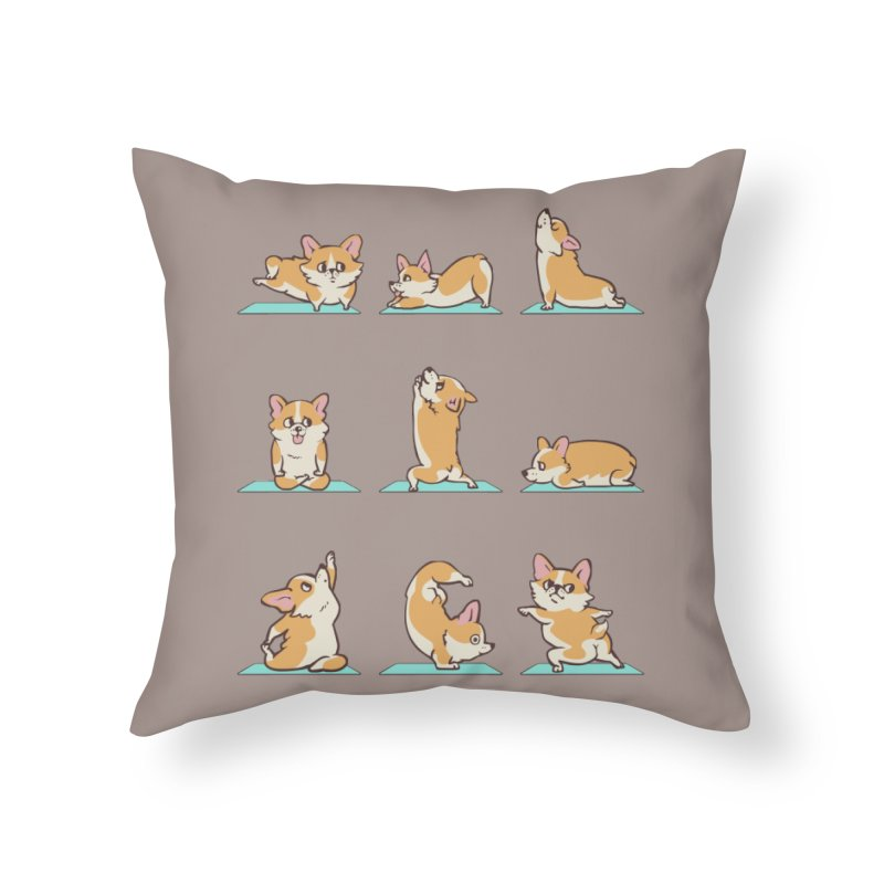Corgi Yoga Home Throw Pillow by huebucket's Artist Shop