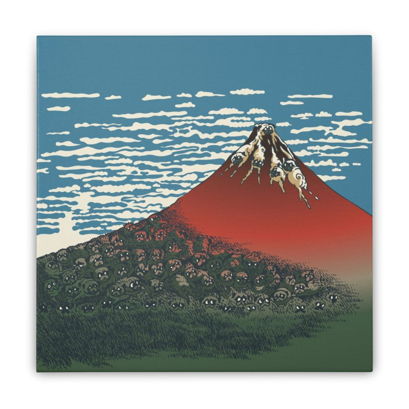 Mount Pugs Fuji Home Stretched Canvas by huebucket's Artist Shop