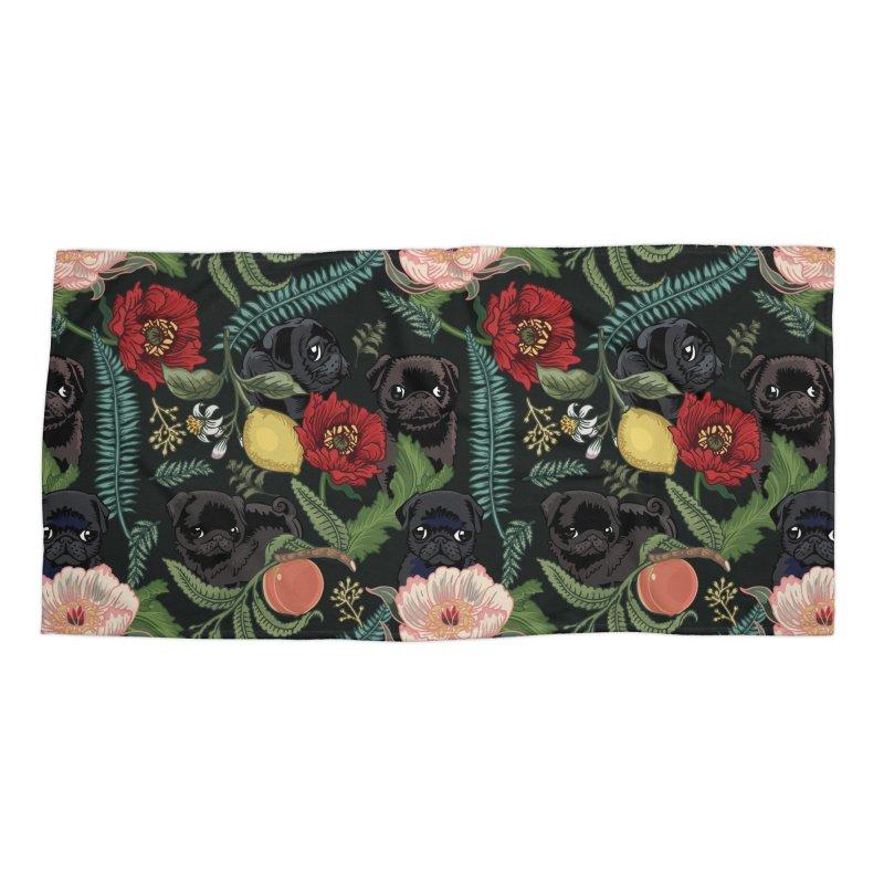 Botanical and Black Pugs Accessories Beach Towel by huebucket's Artist Shop