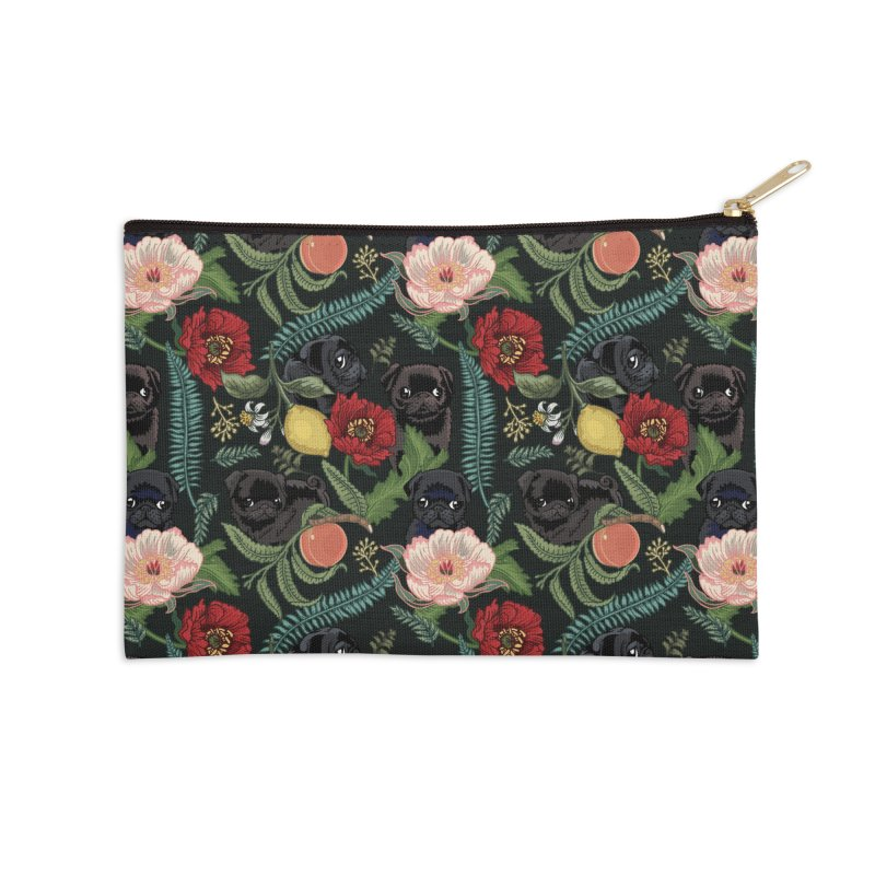 Botanical and Black Pugs Accessories Zip Pouch by huebucket's Artist Shop