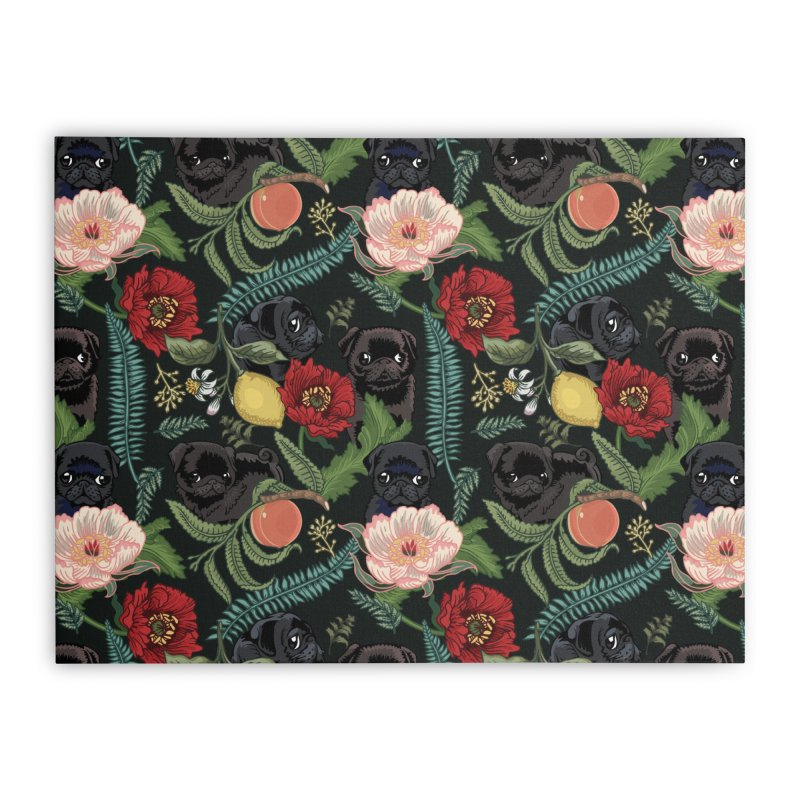 Botanical and Black Pugs Home Stretched Canvas by huebucket's Artist Shop