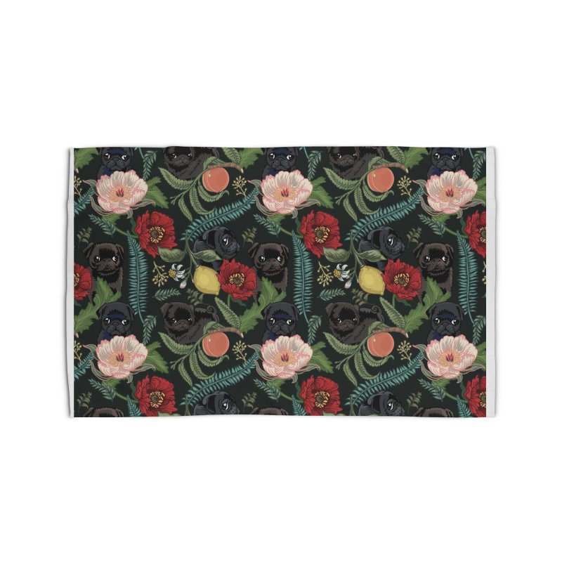 Botanical and Black Pugs Home Rug by huebucket's Artist Shop
