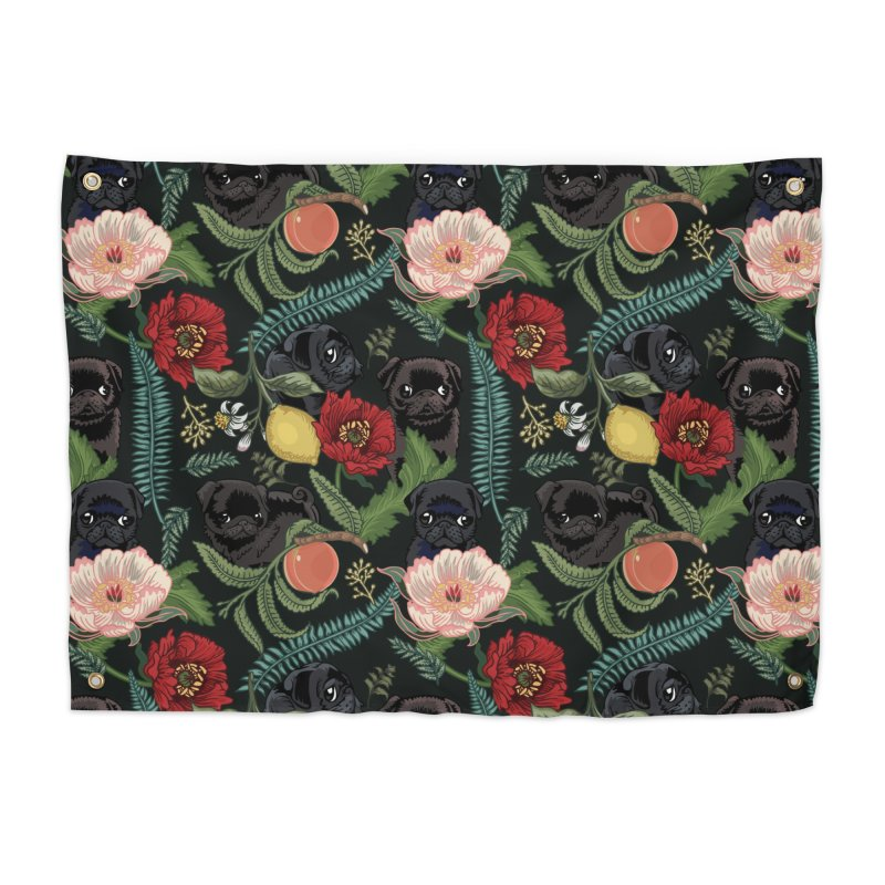 Botanical and Black Pugs Home Tapestry by huebucket's Artist Shop
