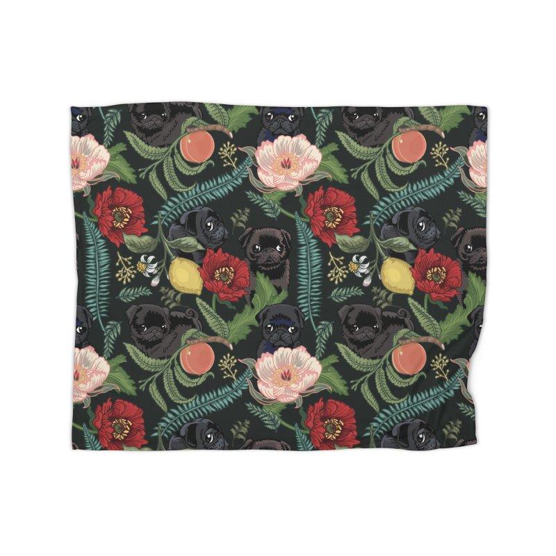 Botanical and Black Pugs Home Blanket by huebucket's Artist Shop