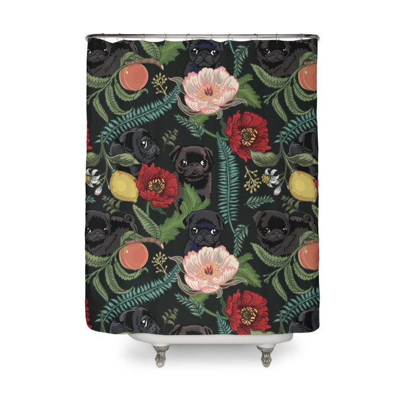Botanical and Black Pugs Home Shower Curtain by huebucket's Artist Shop