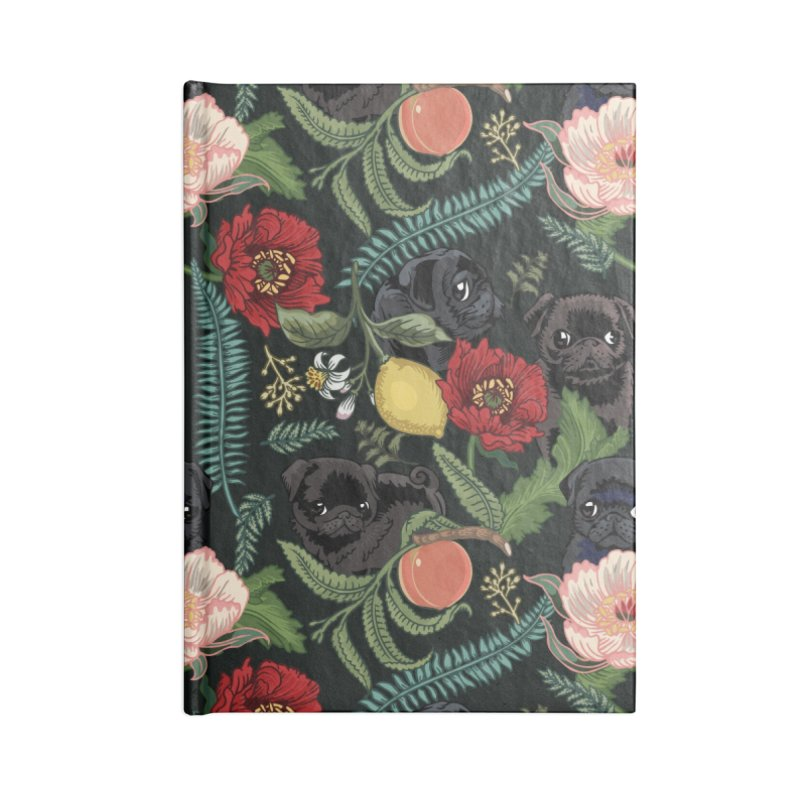 Botanical and Black Pugs Accessories Notebook by huebucket's Artist Shop