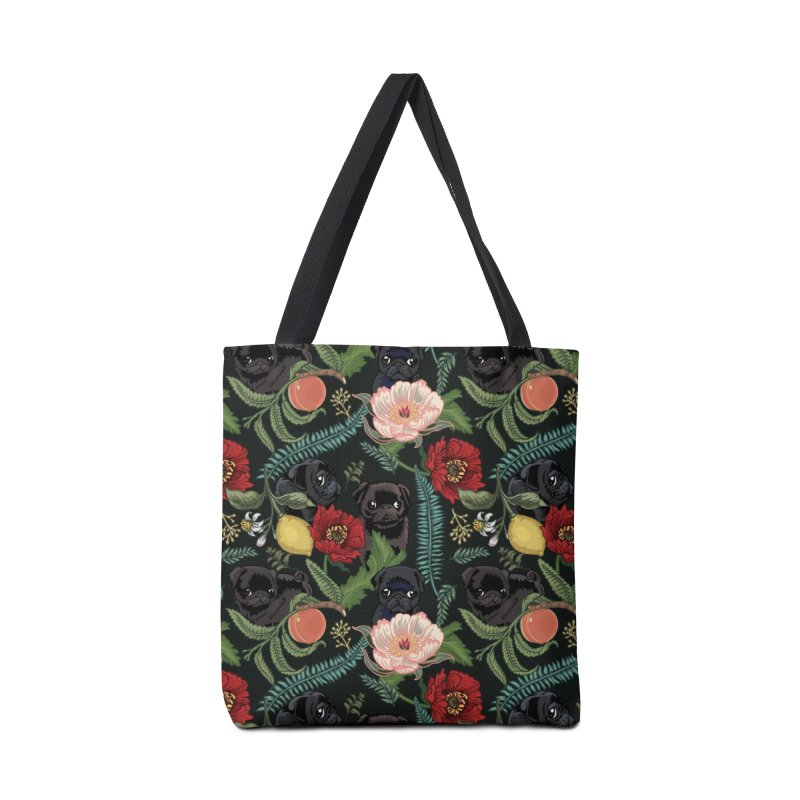 Botanical and Black Pugs Accessories Bag by huebucket's Artist Shop