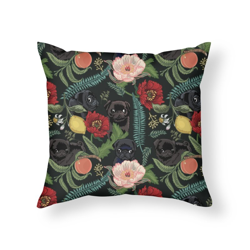 Botanical and Black Pugs Home Throw Pillow by huebucket's Artist Shop