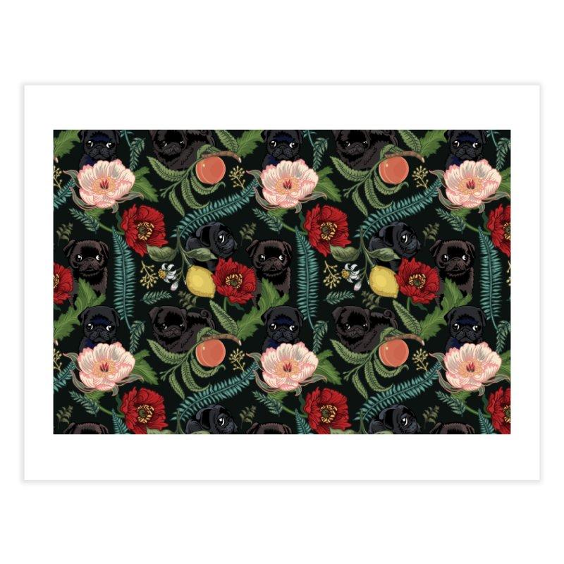 Botanical and Black Pugs Home Fine Art Print by huebucket's Artist Shop