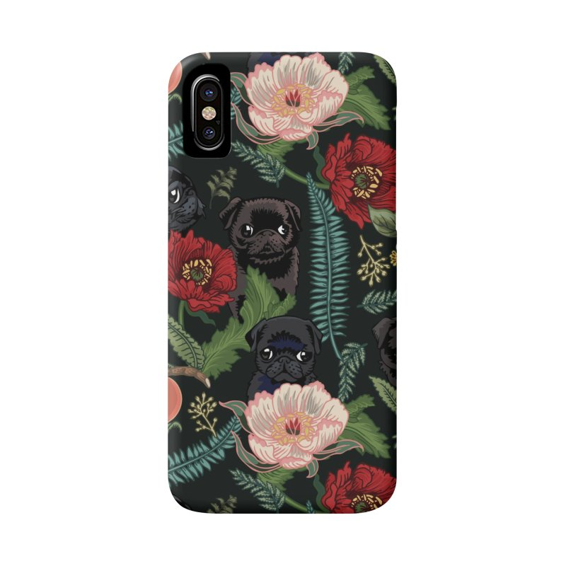Botanical and Black Pugs Accessories Phone Case by huebucket's Artist Shop