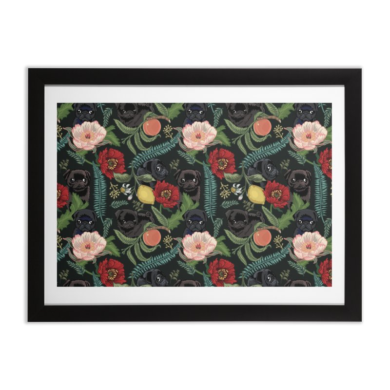 Botanical and Black Pugs Home Framed Fine Art Print by huebucket's Artist Shop