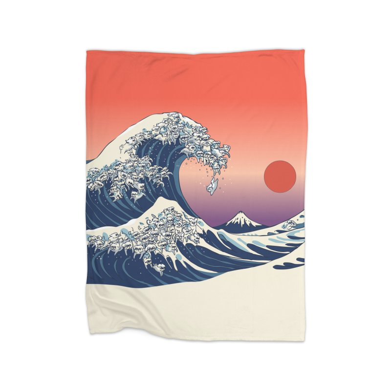 The Great Wave of Maltese Home Blanket by huebucket's Artist Shop