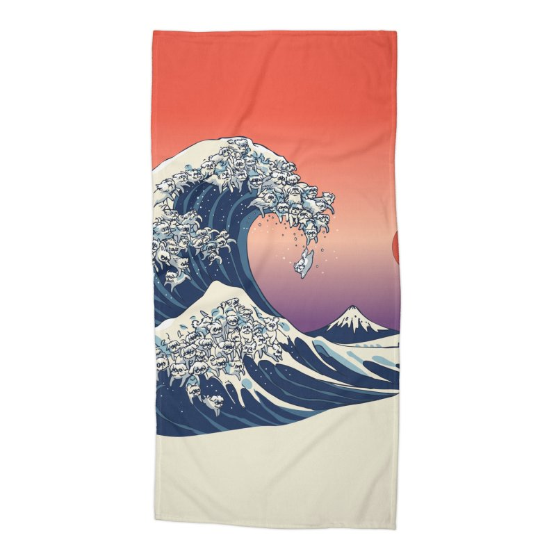 The Great Wave of Maltese Accessories Beach Towel by huebucket's Artist Shop