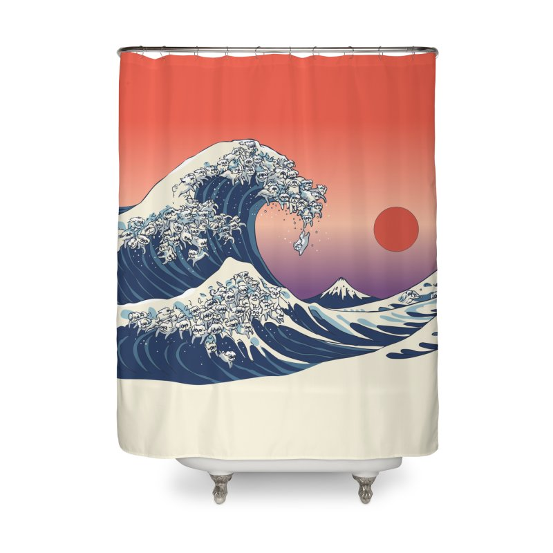 The Great Wave of Maltese Home Shower Curtain by huebucket's Artist Shop