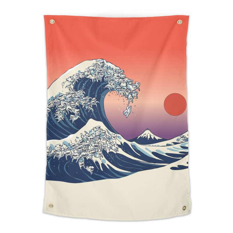 The Great Wave of Maltese Home Tapestry by huebucket's Artist Shop