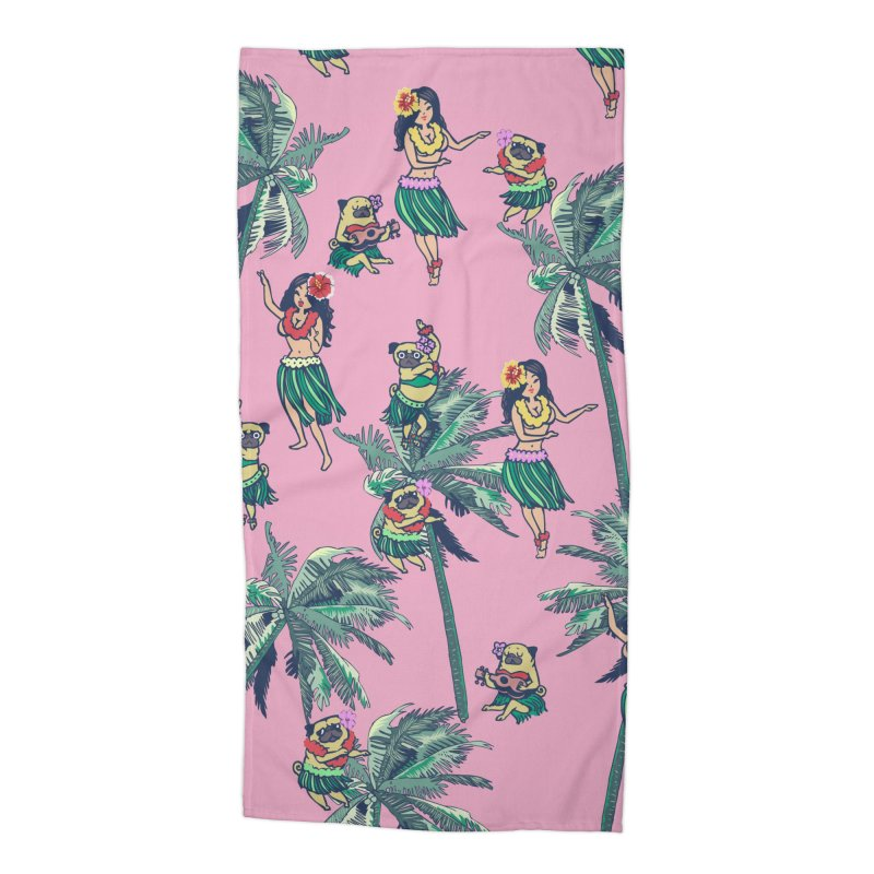 Hawaii Hula with The Pug Accessories Beach Towel by huebucket's Artist Shop