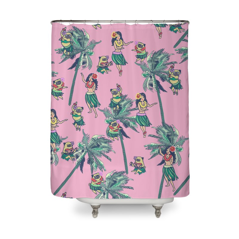 Hawaii Hula with The Pug Home Shower Curtain by huebucket's Artist Shop